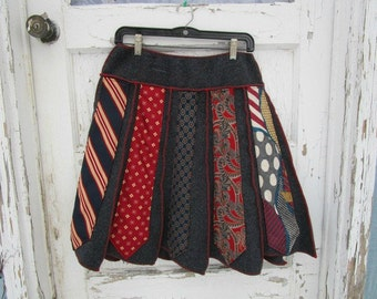 Lg. Upcycled Necktie Bohemian Skirt// Charcoal Gray Red Blue// Mixed Pattern Skirt// emmevielle