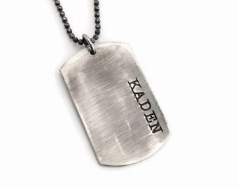 Dog Tag Necklace - Sterling Silver Hand Stamped Dog Tags Necklace - Custom and Personalized Just for You