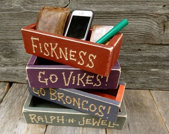 PERSONALIZED ATHLETIC DESK Sport Boxes Reclaimed Cedar Wood