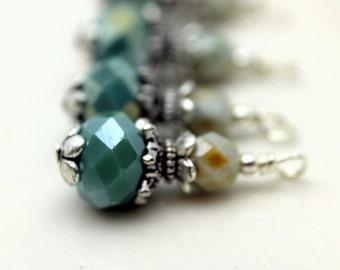 Seafoam Blue Green Rondelle Crystal and Czech Crystal Bead Dangle Charm Drop Set