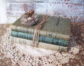 Vintage Book Bundle Handmade Bird's Nest And Egg Woodland