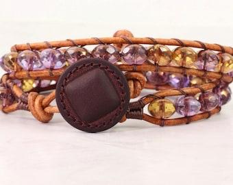 Amethyst Wrap Bracelet Purple Jewelry Natural Leather Bracelet Gold Hippie Bracelet Bohemian Jewelry Boho Chic Jewelry Summer Fashion