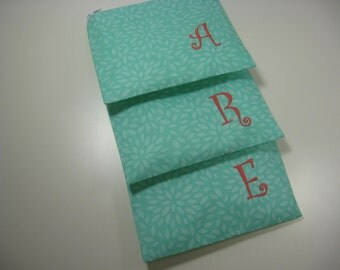 Set of 3 Small Embroidered  Makeup Bags, Personalized Clutch, Monogrammed Zipper Pouch, Your Choice, Made to Order
