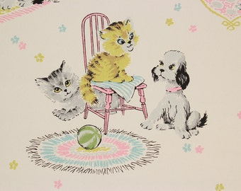 1960's Vintage Wallpaper Childrens Nursery Kittens Puppies--by the Yard
