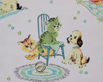 1960's Vintage Wallpaper Baby Animals Kittens Puppies