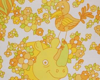 1970's Vintage Wallpaper Vinyl Retro Childrens Lions Giraffes and Rhinos