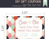 Printable Love Coupon Book -  Editable DIY Gift Coupons - Last Minute Gift - Perfect for Husband, Wife, Child, Loved One