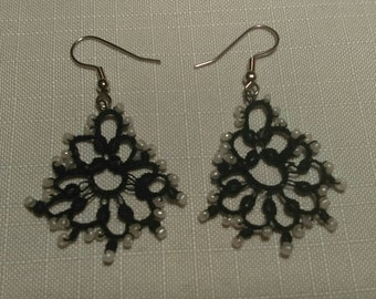 Black and white beaded tatted earrings