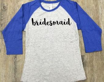 Bridesmaid Raglan T-Shirt, Raglan Shirt, Personalized Raglan Shirt, Bridesmaid Shirt