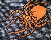 "Cotton with Orange Spiders 1 yard 46"" wide"