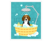123D Dog Print - Beagle Dog in Bubble Bath Wall Art - Bathroom Print - Beagle Print - Bath Decor - Dog Drawing - Dog Art - Beagle Picture
