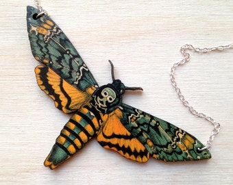 Large Death's Head Moth Necklace | Moth Jewelry | Insect Jewelry | Moth Art Pendant