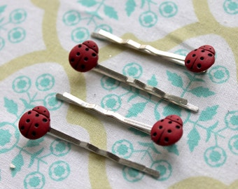 4 ladybug silver bobby pins,ladybugs,silver bobby pins,hair pins,women,teens,girls,stocking stuffers,red,silver,