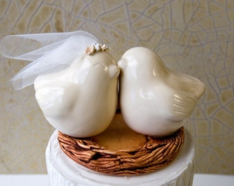 Love Bird Cake Topper with Veil