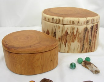 Pacific Yew Tree Trunk Wooden Boxes, Set of 2 Nesting Boxes, wedding gift, small cremation urn, wood jewelry box, family gift, wood art