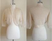 Vintage 1950's wool shrug / vintage ivory wool bolero
