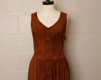 Vintage 1990's Ralph Lauren Country Brown Suede Leather Dress M