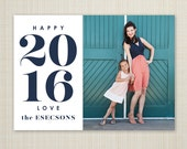 Photo New Year's Card, printable new years photo card, modern photo holiday card - bold 2016.