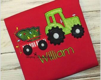 Christmas Tractor - Christmas Tractor Pajamas - Holiday Pajamas - Boys Christmas Pajamas - Christmas Pajamas - Personalized Pajamas