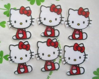 Cat with red bow cabochons 4pcs  35mm x29mm New item