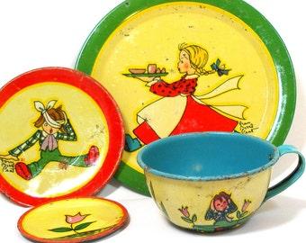 Jack & Jill 1930s Tin Toy Tea Setting, 4 pieces by Ohio Art Co. Cup, saucer, plate, butter pat.