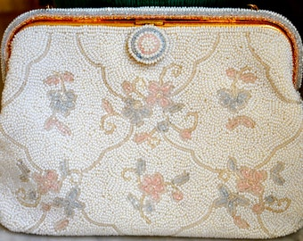 French Vintage Floral Hand Beaded Evening White/multi Clutch