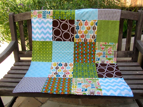 32x40 BOYS Beach Geometric Baby Minky Blanket Ready to Ship