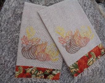 Autumn Harvest Embroidered Towel Set
