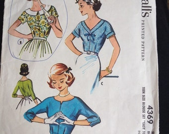"""Vintage 50s Blouse Pattern by McCalls  #4369 Size 12, Bust 32"""""""