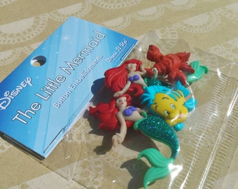 """The Little Mermaid Buttons - Disney Sewing Button - 1 3/4"""" Tall - 4 Buttons"""