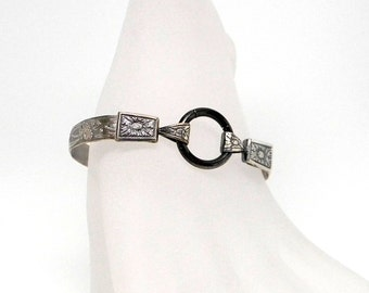 Fleur Quatre Antiqued Sterling Silver Slave Cuff Bracelet with Black Anodized Titanium Captive Segment Ring Security Clasp Made-to-Order