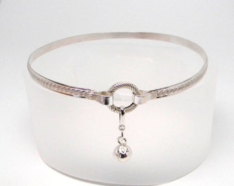 Made To Order Inner Kitten No2 Sterling Silver Symbolic Slave Collar with Textured Chiming Ball and Sterling Silver Focal Clasp
