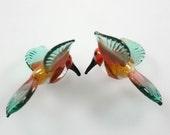 Lampwork Beads Glass Hummingbirds Miniature Tropical Bird Beads RC Art Glass Lampwork Handmade