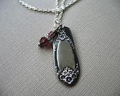Repurposed Spoon Handle Pendant. Vintage Recycled Silver Plate Spoon Handle Pendant Necklace