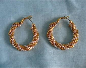 Vintage Gold and Pearl Hoop Earrings