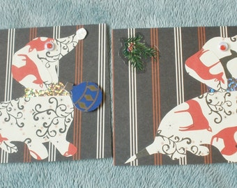 Dachshund Deer Christmas  Collage Cards Set Of 2 With Envelopes