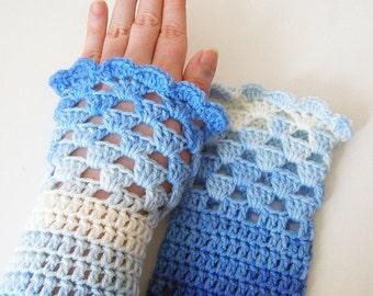 Blueberry Swirl Shell Wrist Warmers Fingerless Gloves Teen Adult Size by keiara SRA