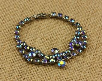 Blue Aurora Borealis Rhinestone Bracelet - Vintage Costume Jewelry