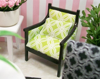 Spring Green Occasional Chair Wood Upholstered 1:12 Dollhouse Miniature Artisan