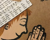 Paper hat girl praying notecard