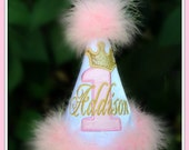 Pink and Gold or Silver Metallic Princess Number/Crown,  First Birthday Hat,  2nd Birthday Hat,  You Choose Colors,      by GINGHAM BUNNY