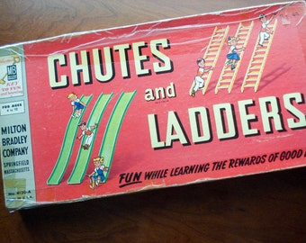Chutes and Ladders - Classic board game - 1956 - complete - gorgeous graphics
