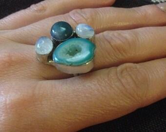 Natural Multistone Adjustable 925 Sterling Silver Vintage Ring