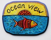 Ocean View - Beach Sign - Hand Painted Sign