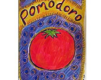 Pomodoro (Tomato) Card, Italian Kitchen, Italian Art, Hand Painted Card, Kitchen Gift, Art for Kitchen, Tomato Painting, Vegetable Art