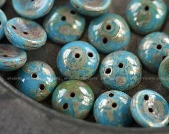 10% off BLUE PIGS .. 20 Premium Czech Picasso Glass Piggy Beads 8x4mm (4017-20)