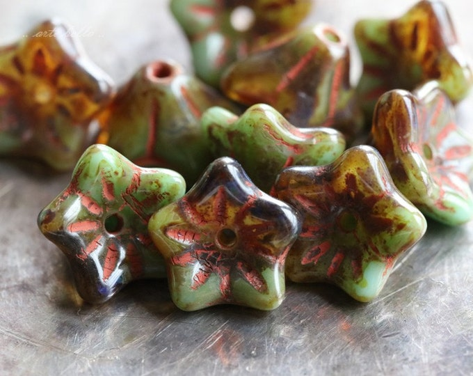 TORTOISE BLOOMS .. 10 Premium Picasso Czech Glass Flower Beads (4731-10)