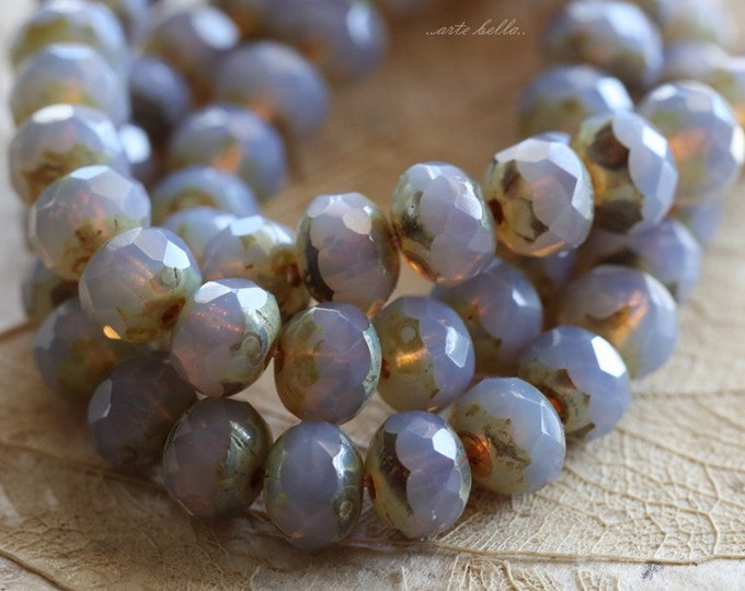 LAVENDER MIST .. 10 Premium Picasso Czech Glass Rondelle Beads 5x7mm (4761-10)
