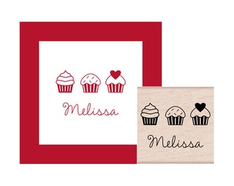 Cupcakes in a Row Personalized Rubber Stamp