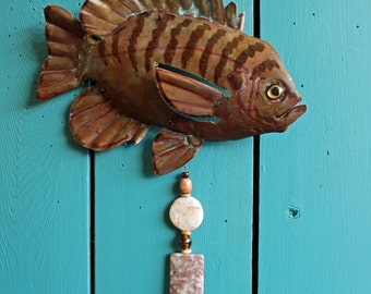 Sun Fish - copper fish sculpture  - with blue-green and brown naturally-aged patinas and gemstone bead dangle - OOAK